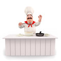 Happy chef with pan and table Stock Photo