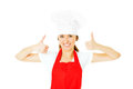Happy chef a portrait of a posing over white background Royalty Free Stock Image