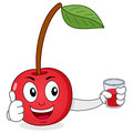 Happy cherry with fresh squeezed juice a cute cartoon red character smiling thumbs up and holding a glass a isolated on white Stock Photos
