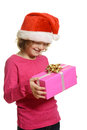 Happy child with christmas gift isolated Stock Images