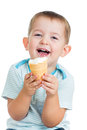 Happy child eating ice-cream isolated Stock Image