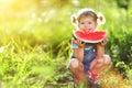 Happy child girl eats watermelon Royalty Free Stock Photo