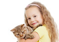 Happy child girl holding cat isolated on white Royalty Free Stock Image