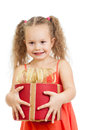 Happy child girl holding gift box Royalty Free Stock Photo