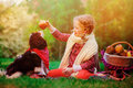 Happy child girl training her dog and giving him apple in sunny autumn garden