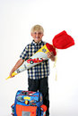 Happy child on his first schoolday Royalty Free Stock Images