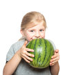 Happy child holding a watermelon Royalty Free Stock Photo