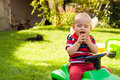 Happy child laughing outdoors Royalty Free Stock Images