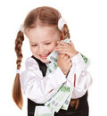 Happy child with money euro. Stock Photography