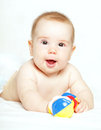 Happy child playing with ratte baby months old Stock Image