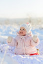 Happy Child in Snow Royalty Free Stock Photo