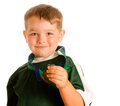 Happy child in soccer medal Stock Photo