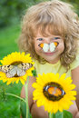 Happy child in spring park Royalty Free Stock Photo