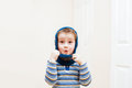 Happy child wearing winter hat Royalty Free Stock Photo