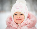 Happy child in winter park Royalty Free Stock Photo