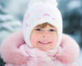 Happy child in winter park Stock Photo