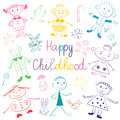 Happy Childhood. Colorful Cute Kids with Toys, Stars and Candies. Funny Children Drawings. Sketch Style.
