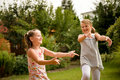 Happy childhood - dancing children Stock Photos