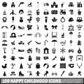 100 happy childhood icons set, simple style