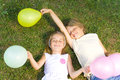 Happy children with balloons Stock Images