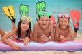 Happy children at beach Royalty Free Stock Photo