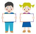 Happy children with blank banner Stock Photos
