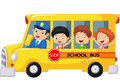 Happy children cartoon on a school bus Royalty Free Stock Photo