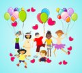 Happy children composition with joyful of the world Royalty Free Stock Image