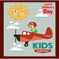 Happy children day background. Vector illustration of Universal Children day poster. Greeting card. Flat. Round frame. - Vector