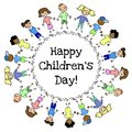 Happy Children Day colorful drawing circle postcard. Vector isolated illlustration
