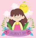 Happy children day, little girl foliage sun clouds ribbon cartoon Royalty Free Stock Photo