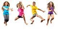 Happy children exercising and jumping Royalty Free Stock Photo