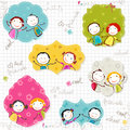 Happy children frames on scribbled paper Royalty Free Stock Photo