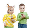 Happy children girl and boy with ice cream Stock Photo