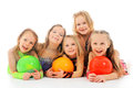 Happy children group of with balls lying Stock Photos