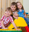 Happy children having fun at home excited Royalty Free Stock Image
