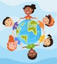 Happy children holding hands around the Globe Royalty Free Stock Photo