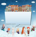 Happy children with houses and clouds llustration of a banner Stock Images