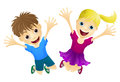Happy children jumping in the air Royalty Free Stock Image