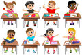 Happy Children Kid Desk School Classroom Isolated Royalty Free Stock Photo
