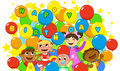 Happy children and a lot of colored balloons for birthday digital illustration Royalty Free Stock Photography