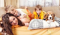 Happy children plaing with puppy in bed beagle Royalty Free Stock Image