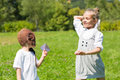 Happy children play in paper airplanes Royalty Free Stock Photo