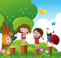 Happy children play in park