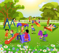 Happy children playing in a garden with flowers and trees Royalty Free Stock Photo