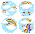 Happy children playing on rainbow
