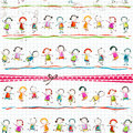 Happy children playing on scribbled page Royalty Free Stock Image