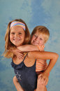 Happy children portrait two boy and girl looking at camera brother and sister Royalty Free Stock Images