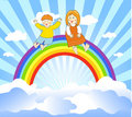 Happy children on the rainbow Stock Images