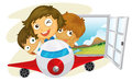 Happy children riding on a jetplane illustration of the white background Royalty Free Stock Image